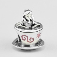 Genuine 925 Sterling Silver Alice in Wonderland Teacup Charm Beads for Jewelry Making Fits Pandora Charms Bracelet Promotion