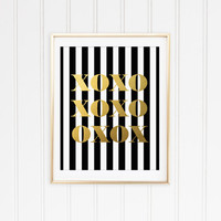 XOXO Print. Faux Gold Foil Art Print. Hugs and Kisses. Modern Home Decor. Love Print. Love Quote. Typography. Art Print. Black and White.