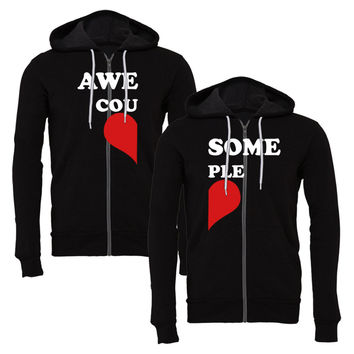 awesome couple matching couple zipper hoodie
