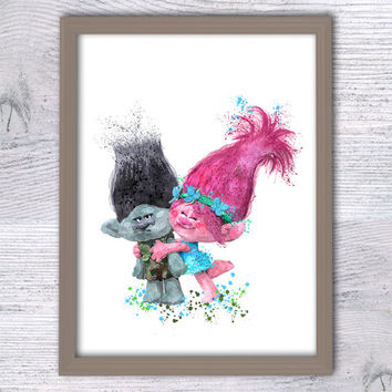 Trolls poster Trolls Poppy and Branch print Trolls wall decor Home decoration Nursery room decor Kids room wall art Trolls watercolor V3
