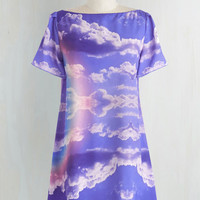 ModCloth Quirky Short Length Short Sleeves Shift Sweet Home Panorama Dress