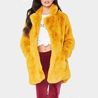 Winter Plain Faux Fur Lapel Coat