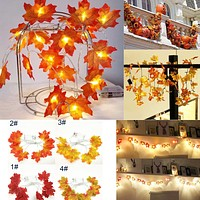 Halloween Decoration 1.5M 10LED Lighted Fall Autumn Pumpkin Maple Leaves Garland Thanksgiving Decor 2O0907