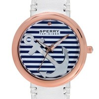 Women's Sperry Top-Sider 'Sandbar' Anchor Dial Leather Strap Watch, 40mm - White/ Gold/ Blue