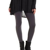 Gray Faux Fur Lined Seamless Leggings by Charlotte Russe