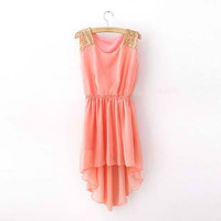 Pink Sequined Assymetrical Chiffon Mini Dress