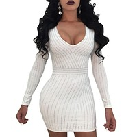 LONG SLEEVE RHINESTONE MINI DRESS
