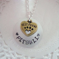 Pitbull Necklace With Hand Stamped Tag Made to order