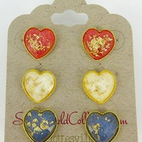 Trio Gold-Tone Heart Shaped Faceted Resin Gold Leaf Stud Earrings 12mm