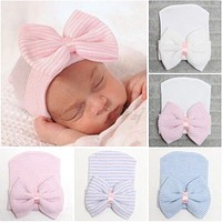 Emmababy born Baby Girls Striped Headband Headwear Toddler Soft Beanie Hat with Bow