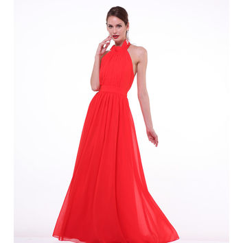 Scarlet Red Chiffon Halter Tie Gown 2015 Prom Dresses