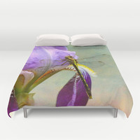 Say Hello To Spring - Dragonfly on Flower Duvet Cover by Jai Johnson