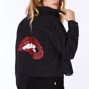 Kiss These Lips Cropped Denim Jacket