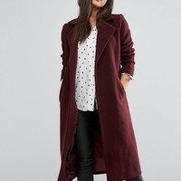 Missguided Longline Faux Wool Duster Coat at asos.com