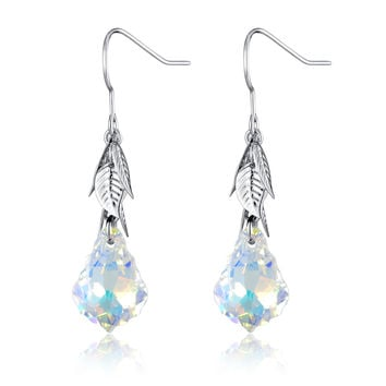 Baroque Drop Swarovski Elements Crystal Earrings - Clear