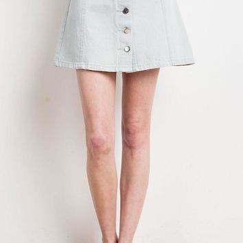 Jean Button Down Front Mini Skirt