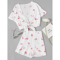 All Over Flamingo Print Knotted Top With Shorts