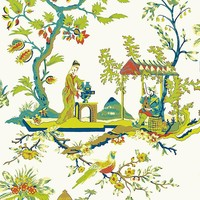Scalamandre Wallpaper WP81212-011 Ch'in Ling Multicolor On Ivory