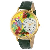 SheilaShrubs.com: Unisex African Gray Parrot Hunter Green Leather Watch G-0150013 by Whimsical Watches: Watches