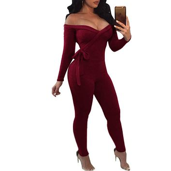 Haloladies Women's Sexy Off Shoulder V Neck Long Sleeve Bandage Bodycon Jumpsuit Rompers