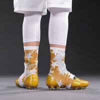 Stars Charcoal Gold White Spats / Cleat Covers