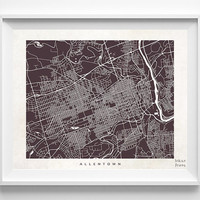 Allentown Map, Allentown Print, Pennsylvania Poster, Pennsylvania Art, Home Goods, Bedroom Wall Art, Anniversary Gift, Halloween Decor