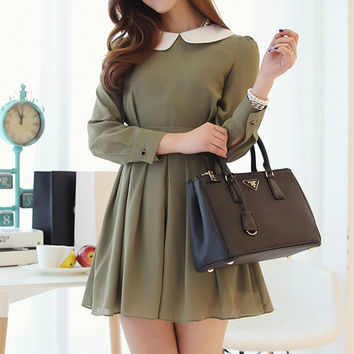 Army Green Pleated Dress