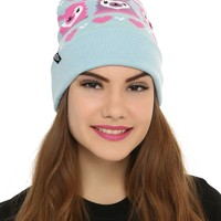 Licensed cool ALPACA LLAMA Blue Fair Isle Embroidered Knit Fold Over Pom Pom Beanie Hat NEW