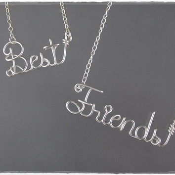FREE SHIPPING!!!  Best Friends Wire Word Name Pendant Necklaces (2)