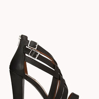 FOREVER 21 Posh Play Strappy Sandals Black