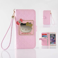 """Fashion Women Girl Lanyard Hello Kitty Flip Wallet Stand Leather Case For iPhone 6 6S 4.7"""" / Plus 5.5"""" With 6 Card Holders Cover"""