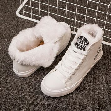 Snow boots Ankle Boots For Women Fur Bottes Femme Winter Sneakers Ladies Shoes White Sneakers Keep Warm Flat Shoes bota feminina