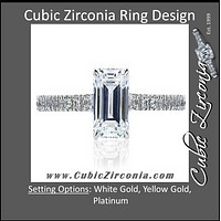 Cubic Zirconia Engagement Ring- The Diane (Cathedral Emerald Cut Infinity Ring)