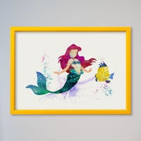 Ariel Princess FRAMED Poster Disney Watercolor Print The Little Mermaid Watercolor Poster Kids art Wall art Nursery Art