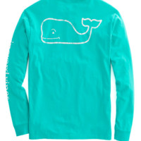 Vineyard Vines Long Sleeve Vintage Whale Graphic Pocket Tee- Aquinnah Aqua