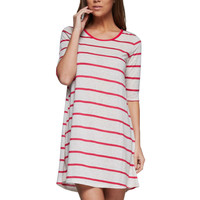 3/4 Sleeve Striped A-Line Knit Tunic Dress