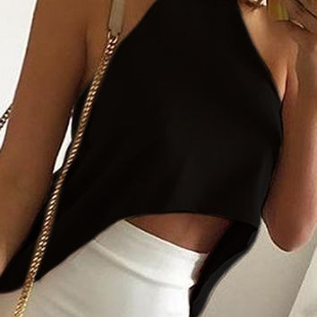 Black Roll Neck Dipped Back Knitted Crop Top