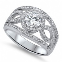 Aliza's Antique Inspired Sterling Silver Cubic Zirconia Ring