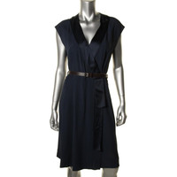 Marc Jacobs Womens Crepe Silk Trim Wrap Dress