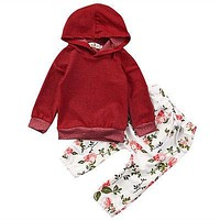 2017 new infant toddler spring  children clothes Lovely Baby Girls Kids Warm Floral Sweatshirt Tops+Pants 2pcs Outfits Tracksuit