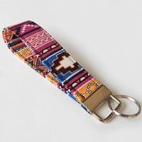 Tribal Print Key Fob / Boho Keychain / Bohemian / Key Lanyard / ID Badge Holder / Tribal Lanyard / Turquoise / Key Lanyard / Wrist Key Chain