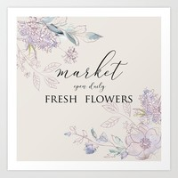 fresh flower market Art Print by sylviacookphotography