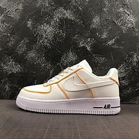 Nike Air Force 1 Af1 Low White/ Yellow Canvas Shoes KAAT