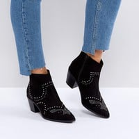 New Look Studded Western Block Heel Ankle Boot at asos.com