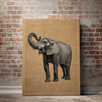 Dictionary art print elephant drawing elephant art print Vintage dictionary print Old Newspaper Instant download Wall Art Animal Poster Art