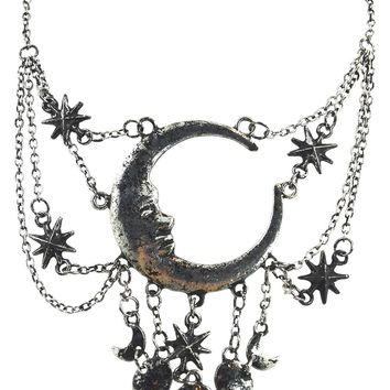 Celestial Goth Crescent Moon Face and Stars Sleepless Nights Witchy Silver Necklace