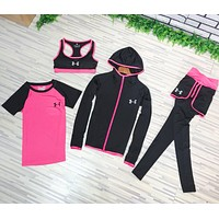 """Under Armour"" Trending Women Casual Gym Sports Yoga Vest Coat Top Pants Set Four-Piece Sportswear Black"