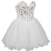 Faironly Crystal Above Knee Length Short Prom Homecoming Dress Ms1