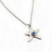 Blue Evil Eye Necklace, Starfish Necklace, Charm Necklace, Silver Tone Evil Eye Necklace, Handmade Jewelry, Woman Necklace