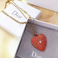 DIOR Fashion Women Classic Red Heart Pendant Necklace Accessories Jewelry